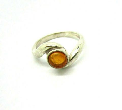 Sterling Silver 925 Vintage Style Real Amber Ring Size N To Clear